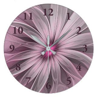 Relógio Grande Flor cor-de-rosa que espera uma arte do Fractal do