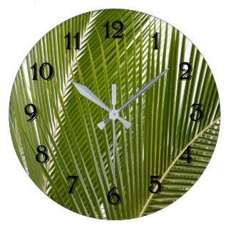 Relógio Grande Folhas tropicais da palmeira de Kauai