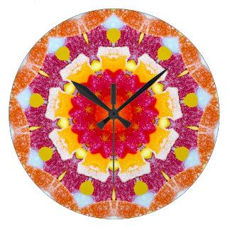Relógio Grande Fractal misturado dos doces da flor