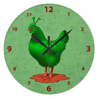 Relógio Grande Galinha estrangeira marciana verde engraçada