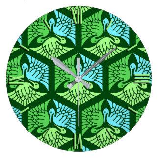 Relógio Grande Guindastes japoneses, verde de jade e luz - azul