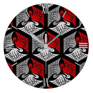 Relógio Grande Guindastes japoneses, vermelho, cinzas/cinza e