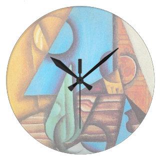 Relógio Grande Juan Gris - garrafa & vidro em uma arte abstracta