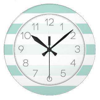 Relógio Grande Listras largas da hortelã