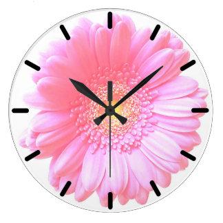 Relógio Grande Luz - margarida cor-de-rosa do gerbera