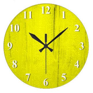 Relógio Grande Madeira Textured amarelo