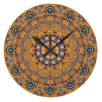 Relógio Grande Mandala de cobre 0158-4 do Patina
