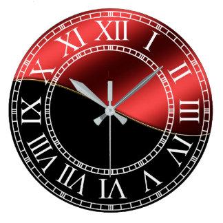 Relógio Grande Metal vermelho do brilho do preto do ouro do
