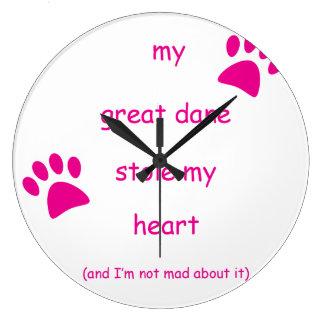 Relógio Grande Meu great dane roubou meu coração