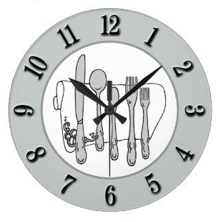 Relógio Grande Número branco do preto do guardanapo da pratas