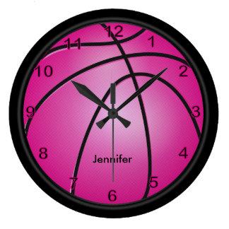 Relógio Grande O rosa quente   do basquetebol   personaliza