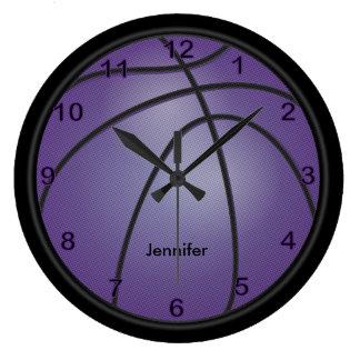 Relógio Grande O roxo   do basquetebol   personaliza