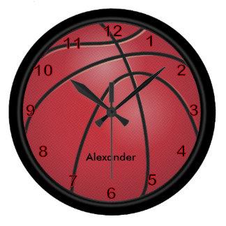 Relógio Grande O vermelho   do basquetebol   personaliza