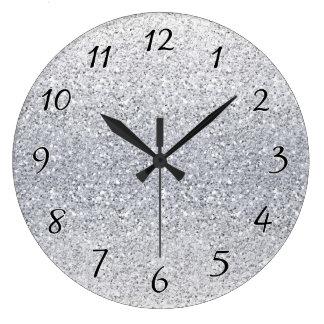 Relógio Grande Ombre de prata Glittery