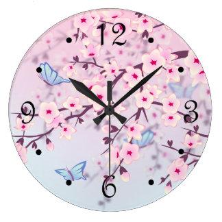 Relógio Grande Paisagem das flores de cerejeira