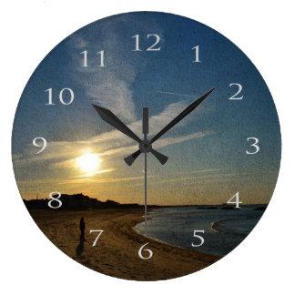 Relógio Grande Por do sol Textured por Shirley Taylor