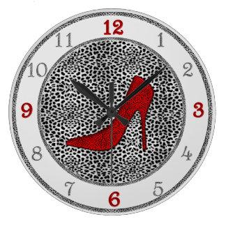 Relógio Grande Prata e vermelho com impressão animal da chita
