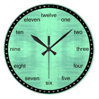 Relógio Grande Preto e luz - teste padrão Textured verde