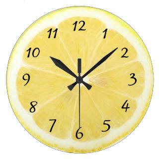 Relógio Grande Pulso de disparo amarelo da cozinha do limão