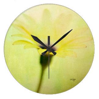 Relógio Grande Pulso de disparo amarelo da margarida do cabo de