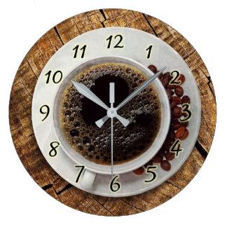 Relógio Grande Pulso de disparo da cozinha da chávena de café