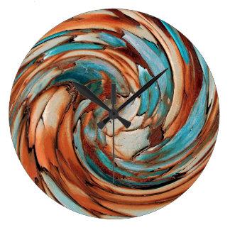 Relógio Grande Pulso de disparo de parede azul da arte abstracta