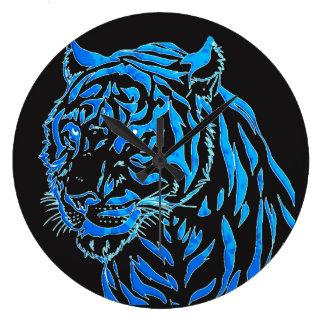 Relógio Grande Pulso de disparo de parede azul do tigre
