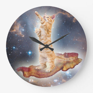 Relógio Grande Pulso de disparo surfando do gato do bacon
