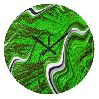 Relógio Grande Pulso de disparo textured 3D preto verde da arte