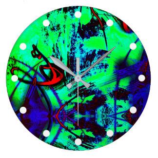Relógio Grande Teste padrão abstrato de néon verde e do azul