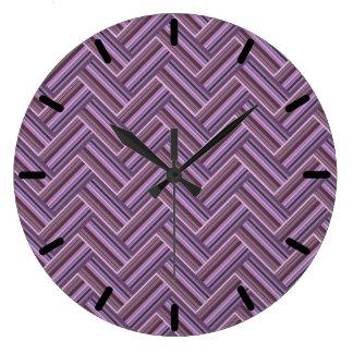 Relógio Grande Teste padrão malva do weave do dobro das listras
