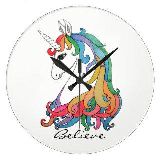 Relógio Grande Unicórnio bonito do arco-íris da aguarela