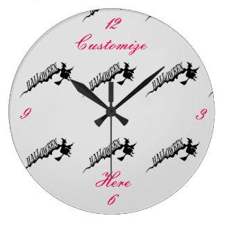 Relógio Grande Vassoura Thunder_Cove da equitação da bruxa do Dia