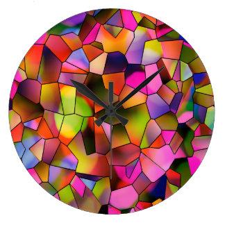 Relógio Grande Vitral na moda da arte abstracta da cor