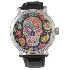 Relógio Groovy do crânio do açúcar - dia da arte