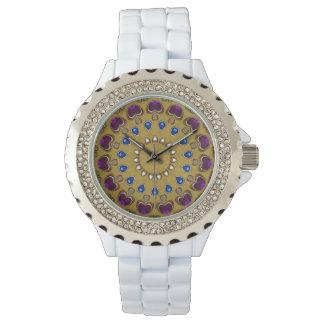 Relógio Jóia Amethyst de pedras preciosas