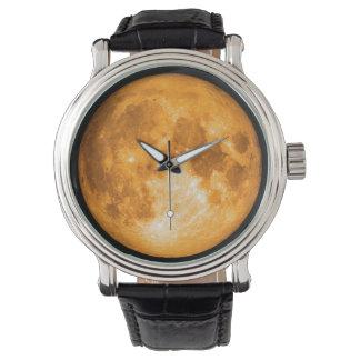 Relógio Lua cheia alaranjada