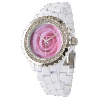 Relógio macio doce da flor do rosa do rosa do amor relogio de pulso