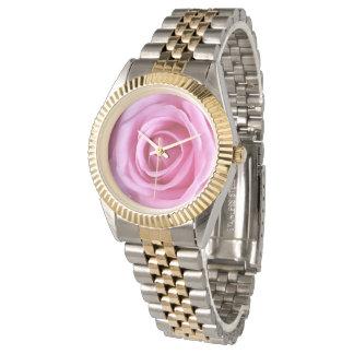 Relógio macio doce da flor do rosa do rosa do amor relogio