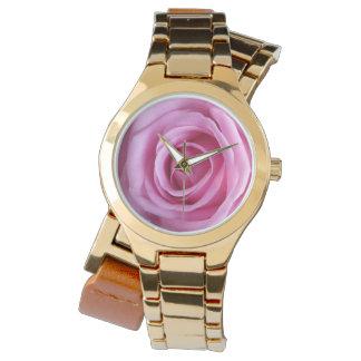 Relógio macio doce romântico da flor do ouro do relogio de pulso