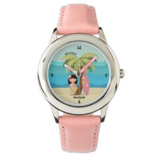 Relógio Menina havaiana do surfista