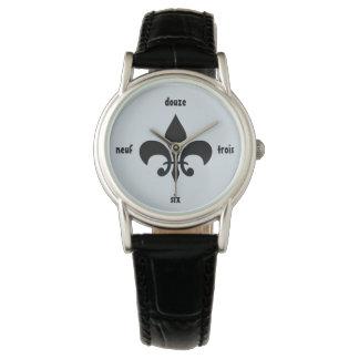 Relógio numeral francês de Louisiana da flor de