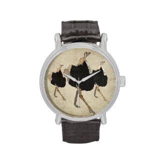 Relógio ornamentado das avestruzes