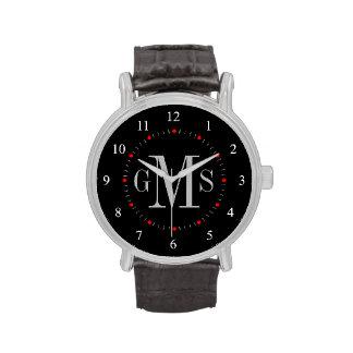 Relógio personalizado elegante do monograma dos ho