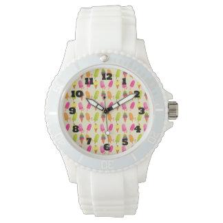 Relógio Popsicles e teste padrão colorido do verão do