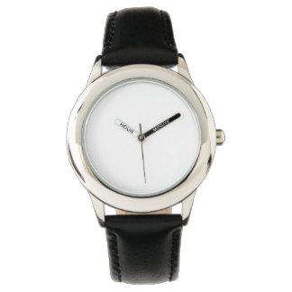 Relógio preto de aço inoxidável da correia de