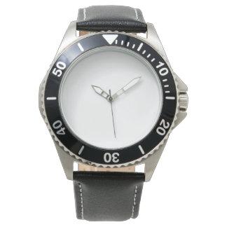 Relógio preto inoxidável da correia de couro dos