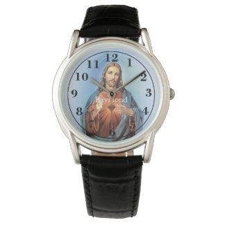 Relógio preto personalizado/Jesus da correia de