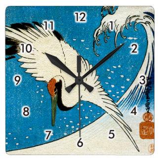 Relógio Quadrado 鶴と波, guindaste & onda, Hiroshige, Ukiyo-e