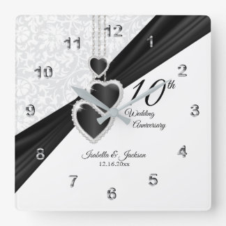 Relógio Quadrado 10o Ônix e lembrança branca do aniversário de